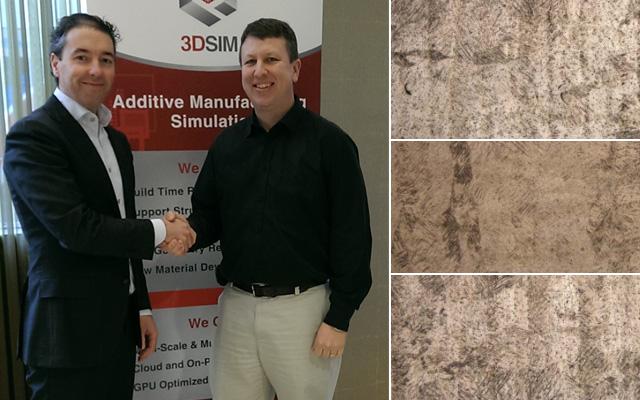 Daan Kerstens, vd, Additive Industries, och Brent Stuckner, vd, 3DSIM. Till höger förstoringar på tre testutskrifter med olika titanpulver.