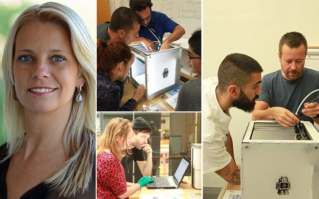 Jenny Sundborg, utbildningsledare på Xenter, och den första kullen studenter på Xenters 3D-tekniker-utbildning. FOTO: Patrik Lark