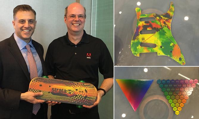 John Gould, vd, Stratasys Nordamerika, och Mike Scrutton, chef för produktutveckling för 3d-skrivare, Adobe.