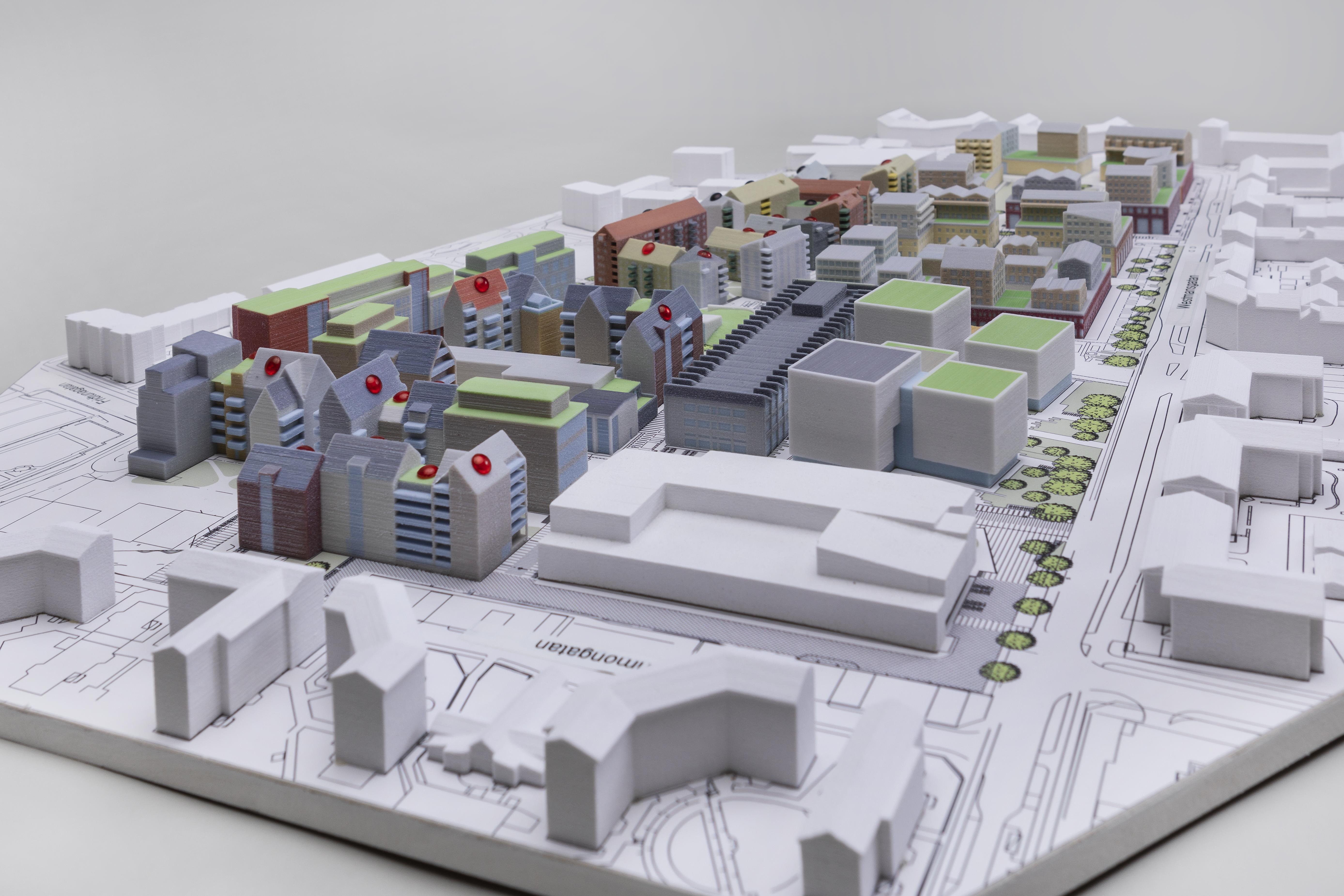 67ee641e6c4d Arkitektkopias utskrift av en modell som föreställer Ebbepark i Linköping.