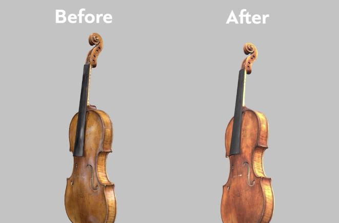 Före och efter vid användning av Glare removal-verktyget. Foto via Artec