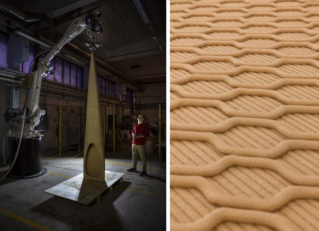 Kajaken 3d-printas av granulat med hjälp av en robotarm. Bilden till höger visar hur ytan ser ut efter att den skrivits ut.
