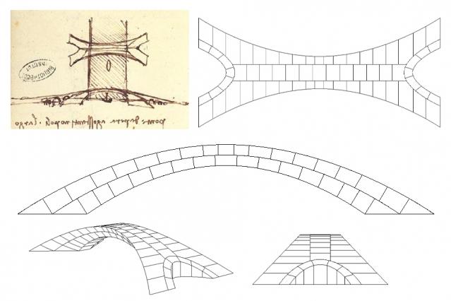 Leonardo da Vincis ursprungliga ritning av bronförslaget (uppe till vänster), tillsammans med ritningar av Karly Bast och Michelle Xie som visar hur strukturen kunde delas upp i 126 enskilda block. Foto via MIT