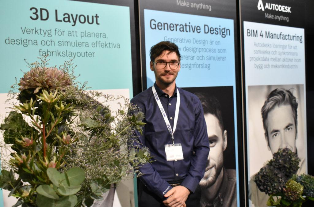 Lars Nyström var på plats i Autodesks monter under Elmia Subcontractor-mässan för att snacka generativ design.