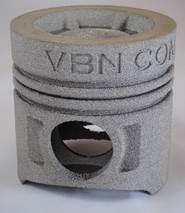 Ihålig och lätt kolv, 3d-printad i hårdmetallen Vibenite 480.