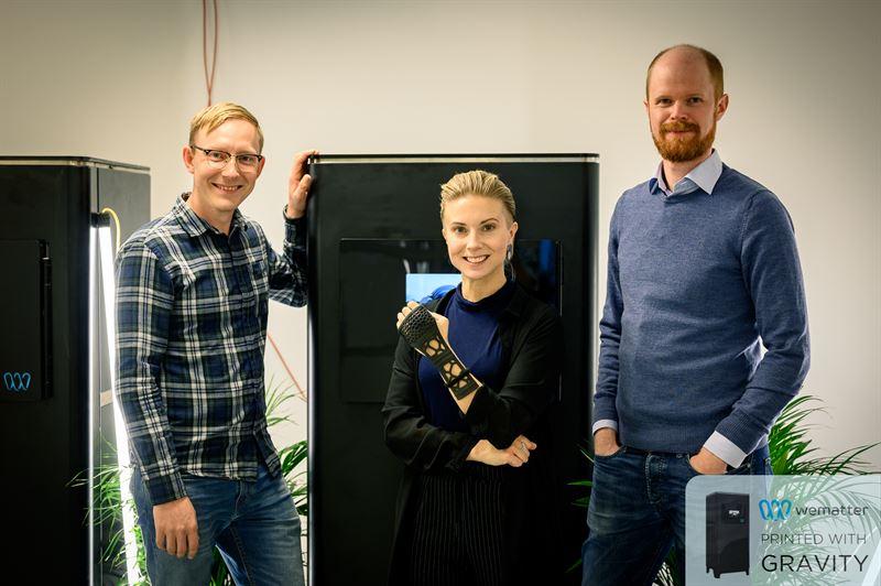 Pia Lindström från IMA, Robert Kniola från Wematter och Kristoffer Skyttner från Skymaker.