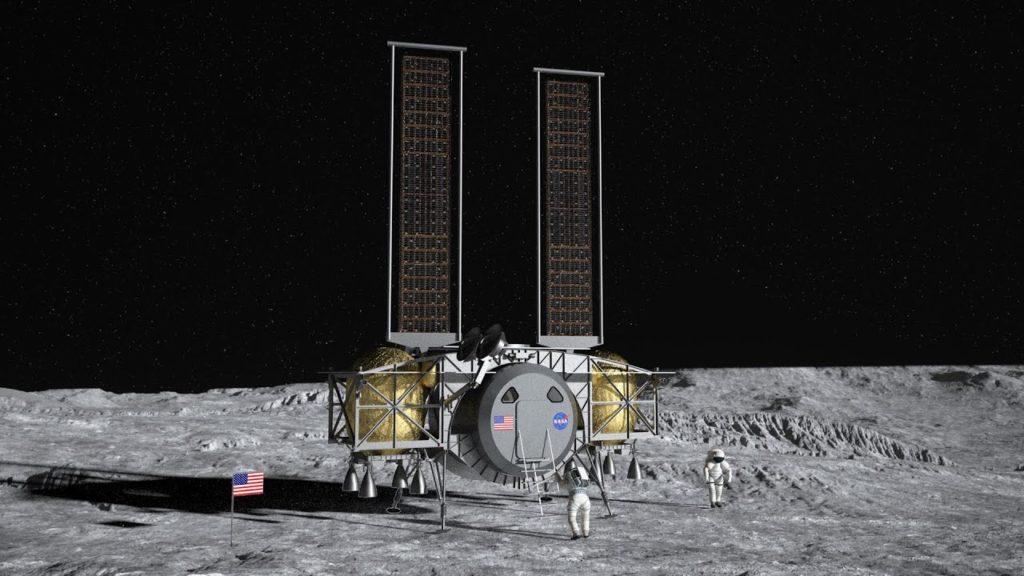 Dynetics farkost som landar på månen. Illustration av Dynetics