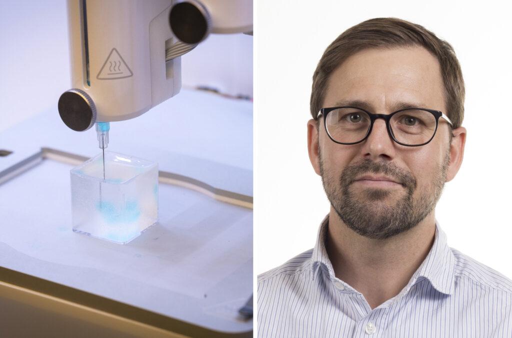 Biobläcket består bland annat av hyaluronansyra och syntetiska protein-liknande molekyler, så kallade peptider. Dessa binds ihop till ett vattenrikt nätverk, en hydrogel, som fungerar som ett stödmaterial för cellerna. Foto Magnus Johansson