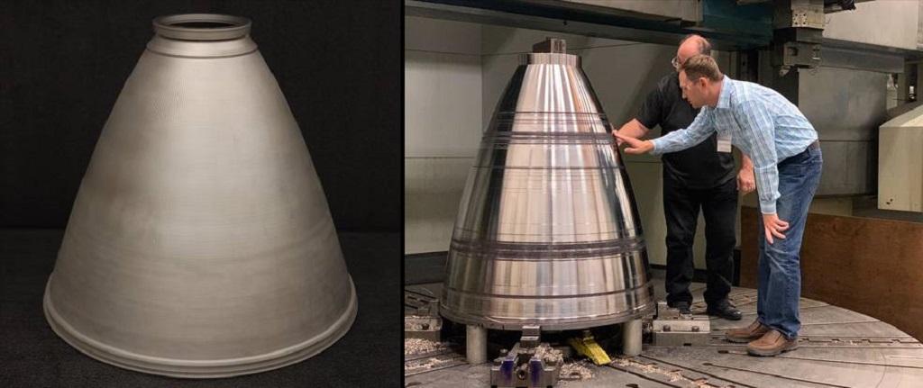 DED 3d-utskrift kan bygga stora strukturer som dessa motormunstycken. Foto: NASA