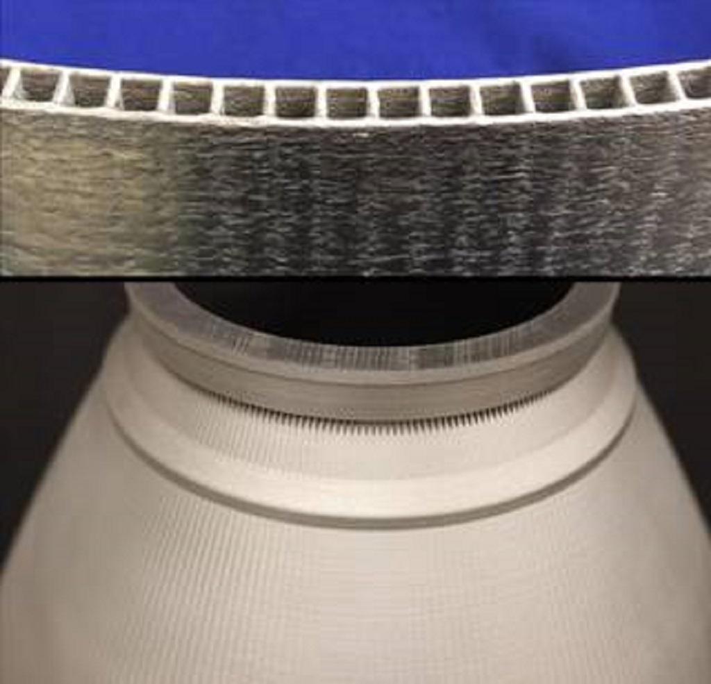 Komplicerade konstruktioner som motormunstycken med integrerade kanalväggar kan tillverkas med användning av metalldeponeringstekniken DED. Foto: NASA