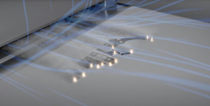 Luftflödet över pulverbädden och de tolv lasrarna som arbetar i SLM Solutions nya 3d-skrivare. Foto: SLM Solutions